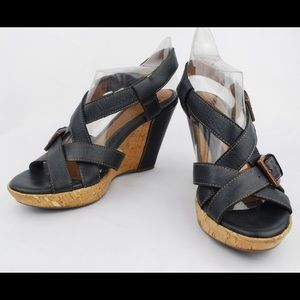 Sofft  Black Leather Strappy Wedge Heel Sandals